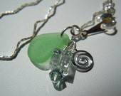 Green Sea Glass Anklet -  Beach Glass Anklet -  Seaglass Anklet