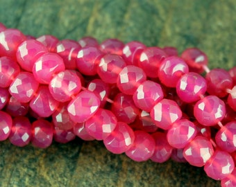 Strawberry Chalcedony Rondell Beads