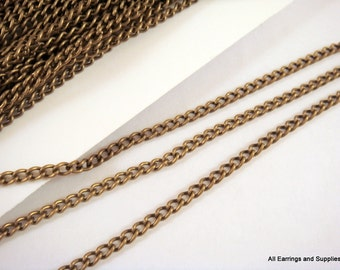 25ft Brass Curb Chain Antique Bronze 3.7x2.5mm Not Soldered - 25 feet - STR9047CH-AB25
