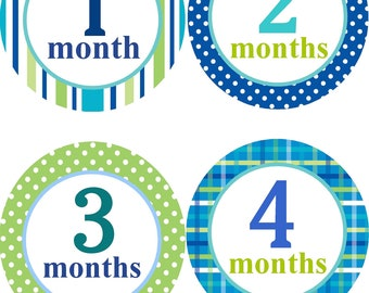 Baby Monthly Stickers Boys/Monthly One to Twelve Month Stickers/12 Month Stickers/Shower Gift for Boys/Boy Month Stickers/
