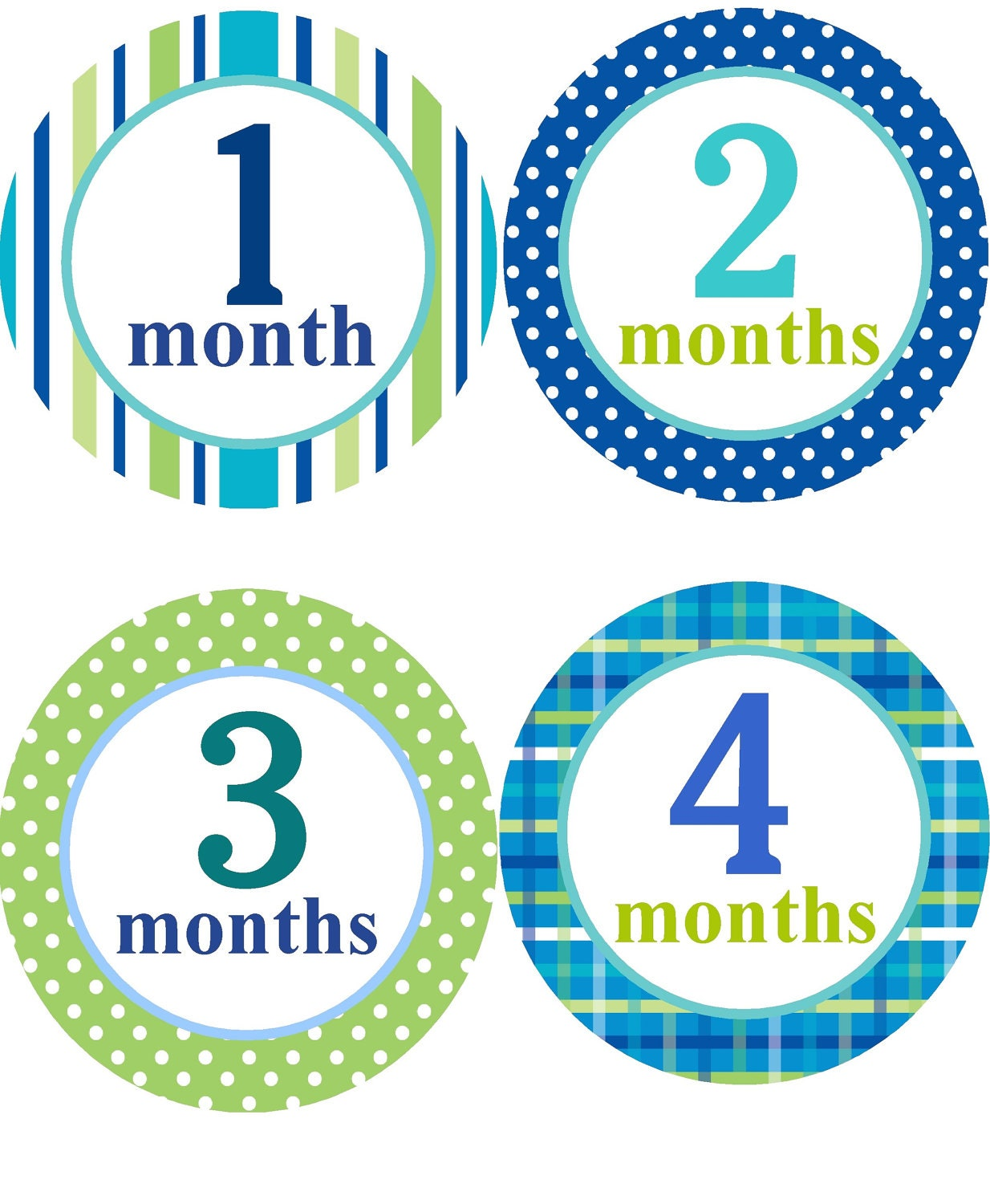 Baby Monthly Stickers Boys/Monthly One to Twelve Month