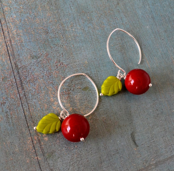 Cherry time   sterling silver earrings