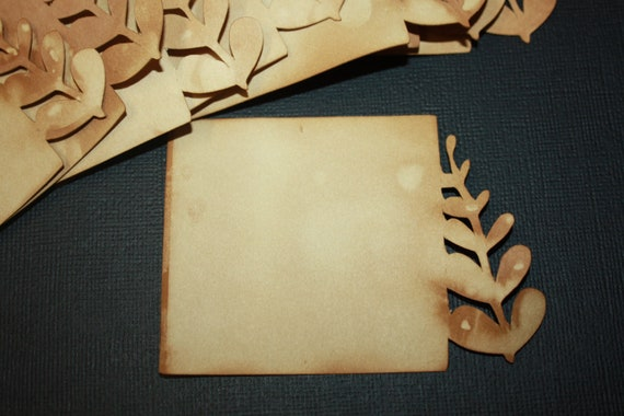 Set of 50 Tea Stained Cardstock Cards
