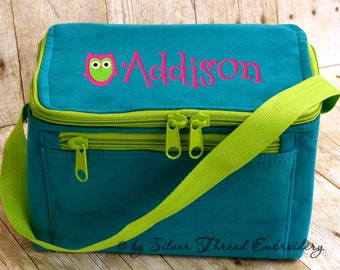 Owl Personalized Lunch Bag Teal Blue Corduroy Name Monogrammed Box Cooler