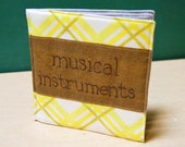 Musical Instruments Cloth Book, printed on organic cotton