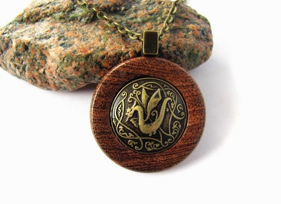 Dragon Necklace Pendant Chinese Year of the Dragon Draco Metal Button Mesquite Wood Eco Friendly Jewelry by Hendywood