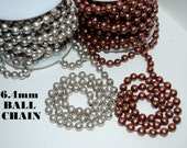 "Ball Chain -2 Ft - 6.4mm Chunky Antique Silver, Copper  24""   - FREE SHIPPING USA"
