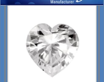 4pcs x Quality Shainy Sparkling 8mm CZ Heart shape Zircon (CZ625F)