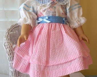Handmade Doll Clothes Pink Gingham  Dress Fits 18 inch dolls