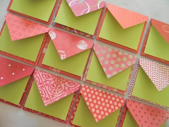 Set of 12 mini envelopes/Christmas tags