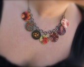 Russian Textile Charm Necklace - Russian Necklace - Russian Jewelry - Charm Necklace - Multi Colored Jewelry - Textile Jewelry