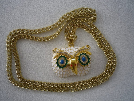 SALE Large White Teal Rhinestone and Gold Owl Pendant on Long Chain