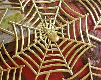 Gold Foil Die-cut Dresden Spider Web (15 per sheet)