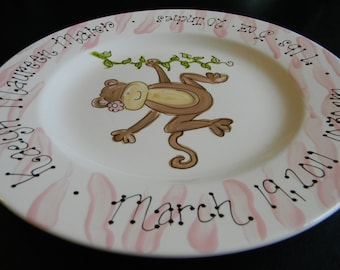 Personalized Hand Painted Girl Monkey Birth Announcement Plate