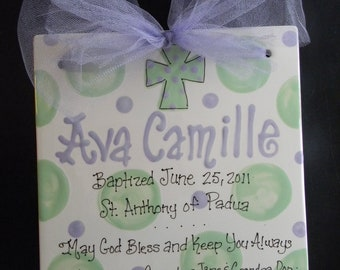 Ceramic Hand Painted Birth Announcement - Baptism Tile with Polkadot Cross - 8x8 with Ribbon