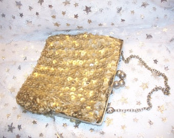 Vintage Gray Sequin Evening HandBag 1970 Disco Purse Prom Purse