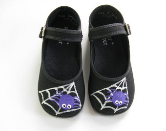 Spider Halloween Shoes, Hand Painted Black Mary Janes with Silver Spider Web For Baby and Toddler