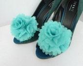 Wedding - Bridal Shoe Clips - Teal Aqua Blue Chiffon Flower