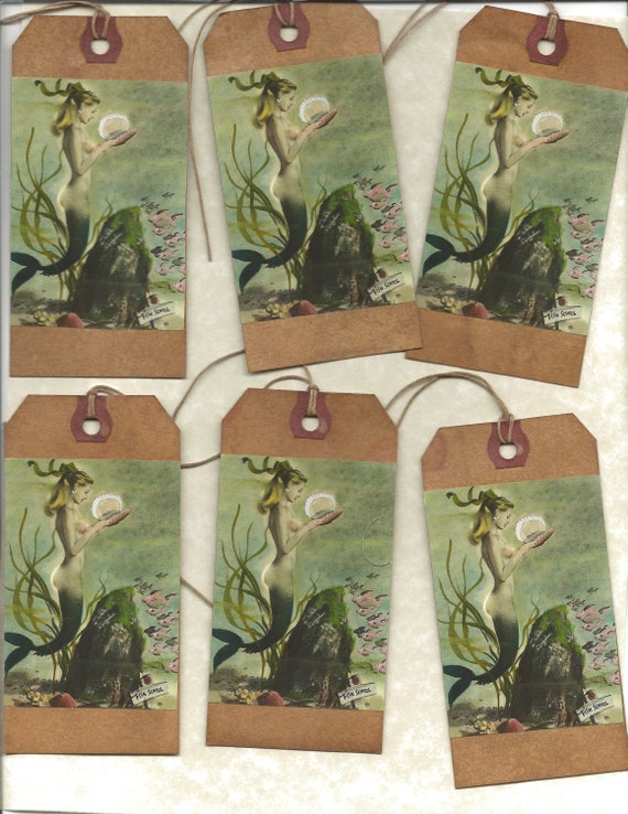 12 PRIMITIVE TAGS      Mermaid    Hang Tags      folk      Grungy