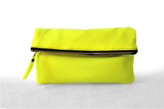 Clutch purse, Fold over, Faux leather,  Neon Fabric , Color Block