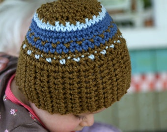 Crocheted Baby Hat in a Brownish Olive Medium Blue Light Blue Soft Free Shipping in the US