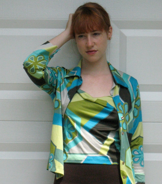 Vintage  COLOR BLOCK TWINSET by kookai 1990s