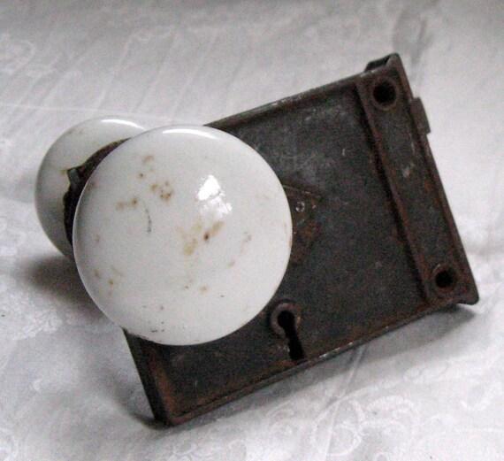 Antique Door Lock Box And Porcelain Knobs Around 1900