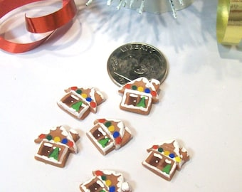Six Gingerbread Houses, Dollhouse Ornaments, Micro Miniature Houses, Tiny Token Gifts, 12th Scale, Holiday Decor, ChristmasTree Ornamentss