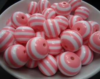 Big Round Striped Pink and White Bubblegum Resin Beads, 20mm - 8x