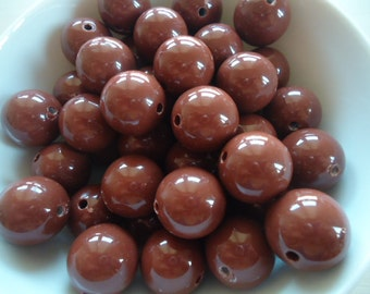 Big Round Brown Resin Beads, 20mm - 8x