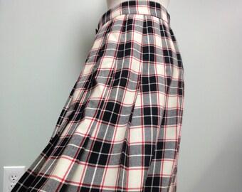 70s Wool Plaid Pleated Skirt, David Brooks, Black Red Cream, High Waist Skirt