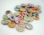 Destination Wedding Favor / Recycled Map Button, Map Magnet