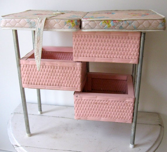 Sale Vintage Pink Wicker Doll Changing Table