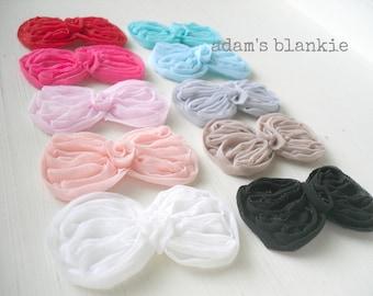 Petite Bow Headbands - You Choose TWO Colors - Cream, Black, Khaki, Pink, Hot Pink, Blue, Aqua or Gray - Newborn Infant Baby Girl Toddler
