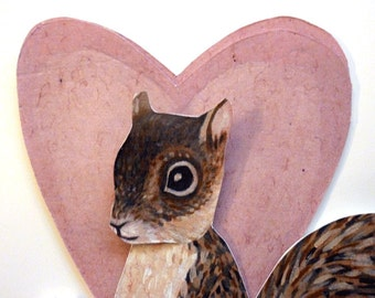 Squirrel Love Heart Card for  Anniversary, or I Love You, Woodland Animals, Brown, White, Pink