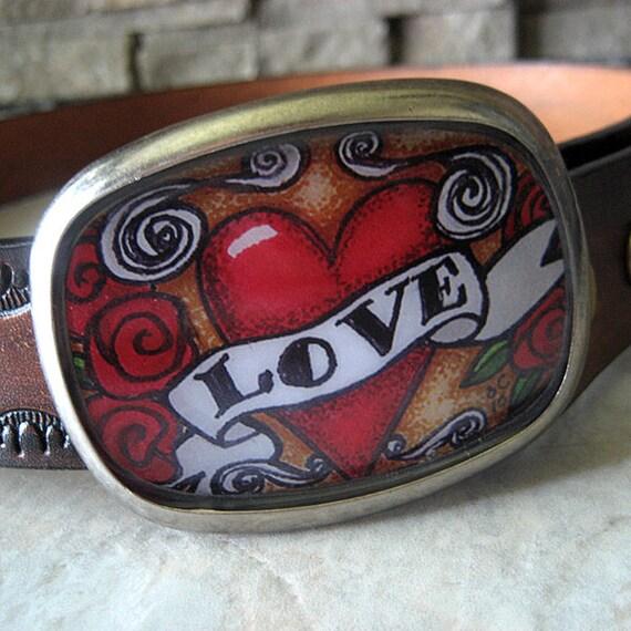 womens belt buckle retro tattoo red heart - Retro Tattoo Love