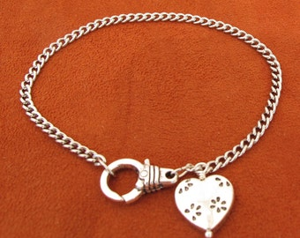 Silver Metal Chain Bracelet with a Heart Dangle and Decorative Lobster Clasp is ready for Charms or Dangles,8 inches, A123