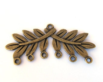 Antiqued Bronze Leaf Branch 58mm x 22mm Pendant Base, Just add dangles, Sold individually, 1056-50