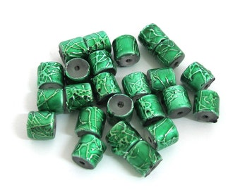 Green with Green metallic speckles Acrylic Beads, 8mm x 8mm Cylinder. Sold per pkg of 34, 1059-45