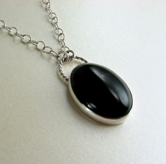 Black Onyx Pendant Necklace In Sterling Silver - Long Necklace - Black Stone Necklace - Long Pendant Necklace