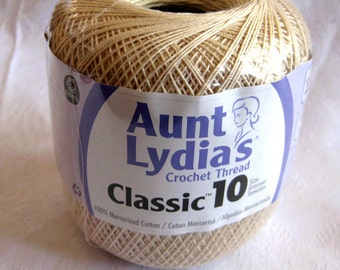 NATURAL color Crochet cotton, Aunt Lydias Classic Crochet Cotton Thread,  size 10