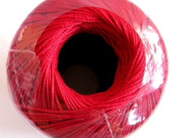 SCARLET Red thread, Aunt Lydias Fashion Crochet thread, Size 3, cotton thread, 6