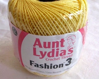 Light yellow crochet thread, Aunt Lydias Fashion Crochet thread, Size 3, cotton thread, 423, MAIZE