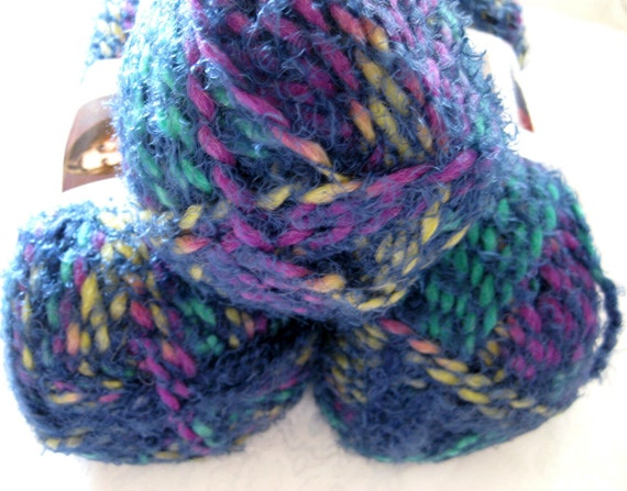 alpaca wool blend yarn, teal with rainbow hints, bulky weight, Red Heart Boutique Swirl yarn, PRISM