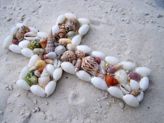 Cross Seashell Mosaic in Colorful Natural Shells Small 9x6