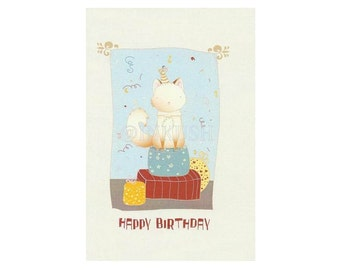 "Birthday Greeting Card, Blank Card ,  Art Print Illustration 4x6"" Red light blue and yellow"