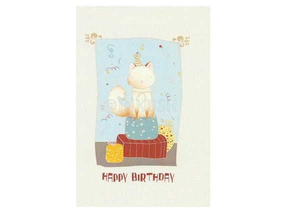 """Birthday Greeting Card, Blank Card ,  Art Print Illustration 4x6"""" Red light blue and yellow"""
