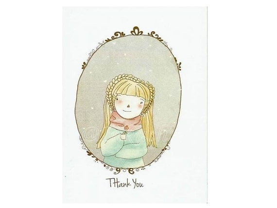 "Thank You Card ,Greeting Card, Blank Card, 4 x 6 "" Fine Art Print of My Original  Illustration"