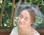 "WEDDING VEIL - large birdcage blusher Bridal Veil  in 18"" Russian veiling"