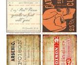 Instant Download - Old Time Labels Altered - Poison-  Digital Download - Printable  Digital Collage Sheet